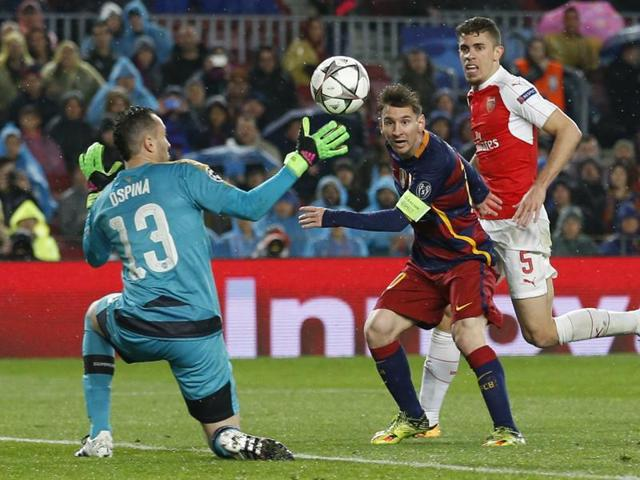 Barcelona's Lionel Messi in action against Arsenal in the Champions League second leg match at Camp Nou.