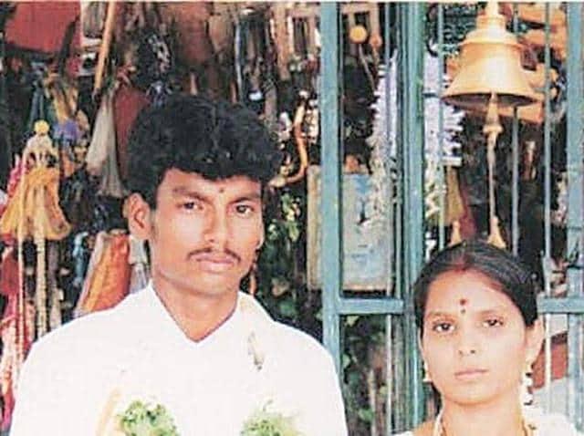 A wedding photo of Sankar and Kausalya.