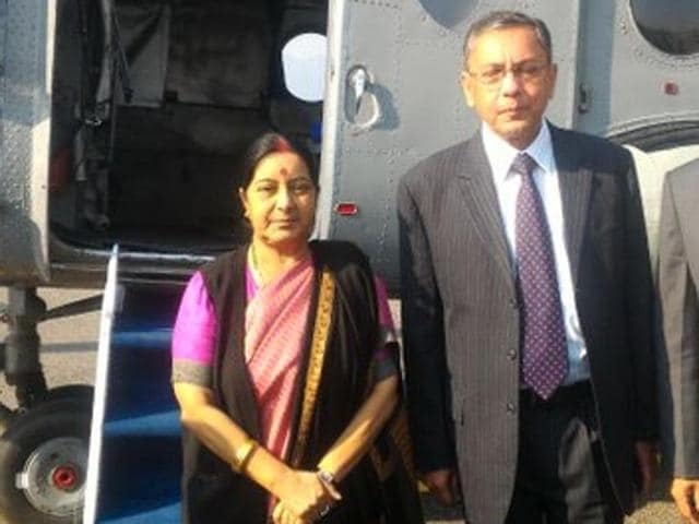 External affairs minister Sushma Swaraj left Pokharan on Friday after attending the SAARC ministerial meeting in Nepal.