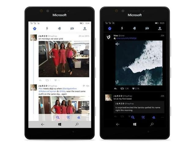 Twitter for Windows 10 smartphones brings features such as Moments, group messaging, video sharing, the ability to quote tweets and more.