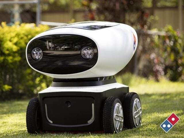 The battery-powered robots use on-board sensors to avoid obstacles and can deliver pizzas within a 20-kilometre radius of a store and return in one charge.