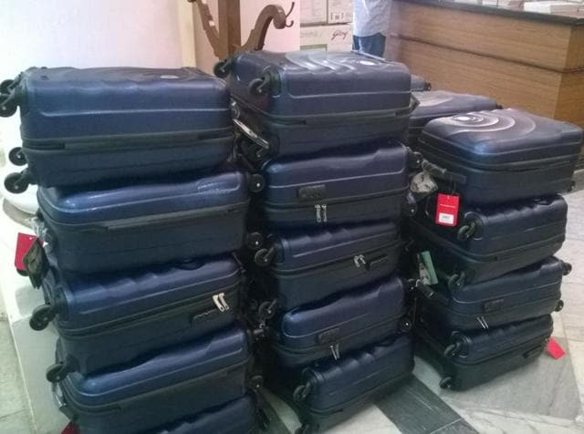 Briefcases lay in the Bihar assembly. The government sent gifts to its lawmakers on Friday.