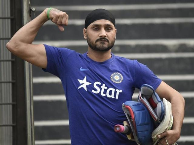 Indian cricketer Harbhajan Singh poses for a photograph during a training session.