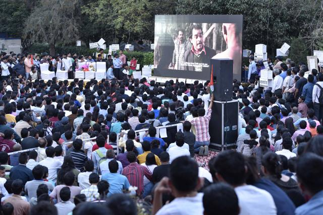 JNU students  at campus. (Photo by Arun Sharma/ Hindustan Times)