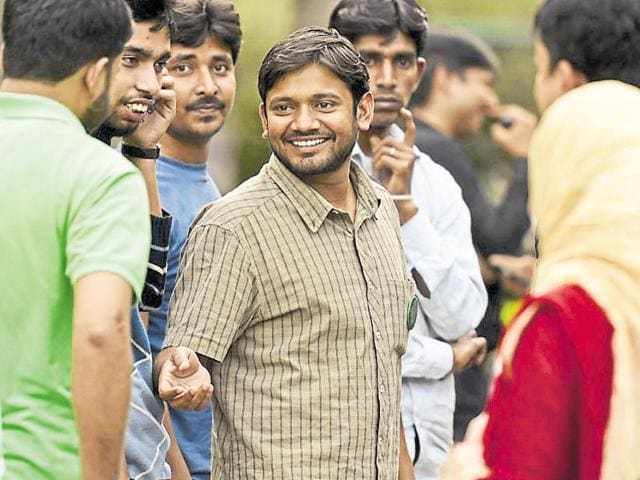 Kanhaiya Kumar speaks at a gathering after the march from Mandi House to Parliament in New Delhi.
