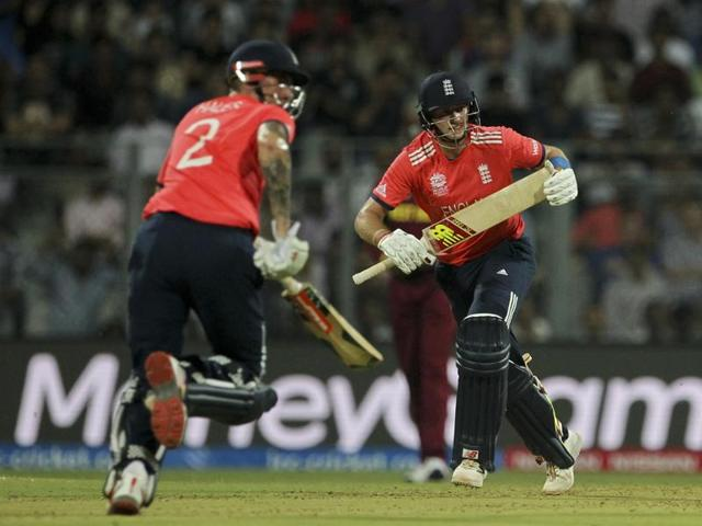 England's Joe Root left, and Alex Hales take a run against West Indies during their ICC World Twenty20  match at the Wankhede stadium in Mumbai on March 16.