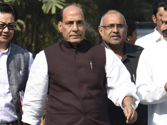 Home minister Rajnath Singh with other cabinet ministers at the Parliament House in New Delhi.