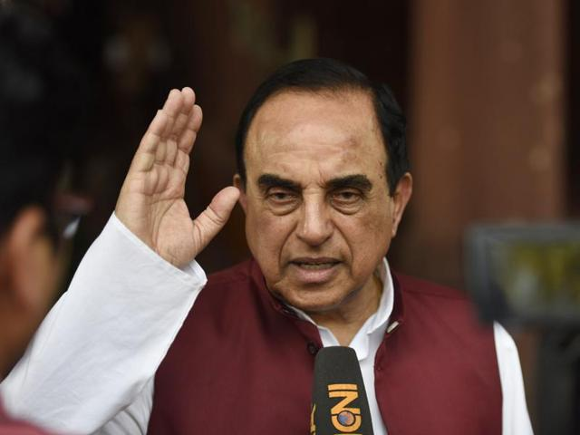 BJP leader Subramanian Swamy at Parliament during the Budget session, in New Delhi.