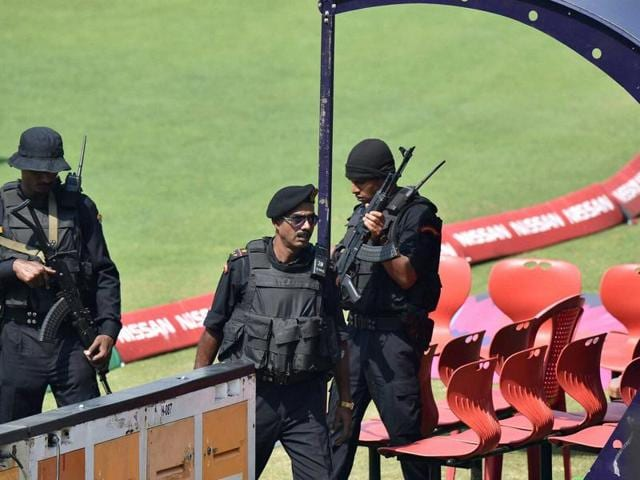 Commandos keep a strict vigil during the Pakistan team's practice session at the Eden Gardens in Kolkata on Thursday.