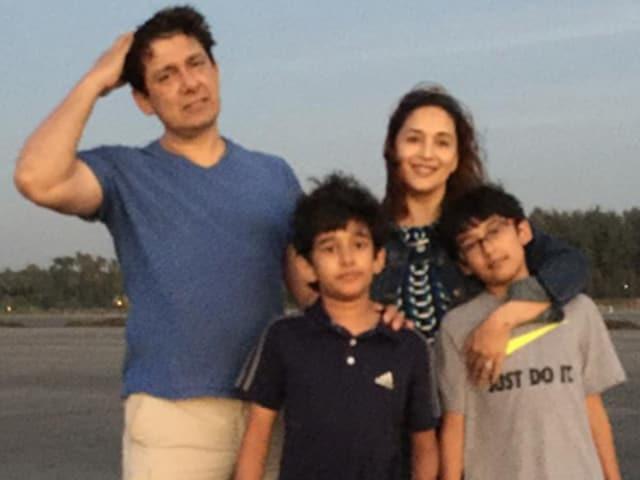 Madhuri Dixit Nene with husband Ram and sons Raayan and Arin.