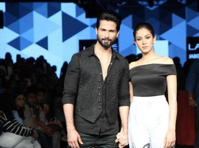 Shahid Kapoor with wife Meera Rajput displays Masaba Gupta collection during the Lakme Fashion Week Winter Festival. (IANS)