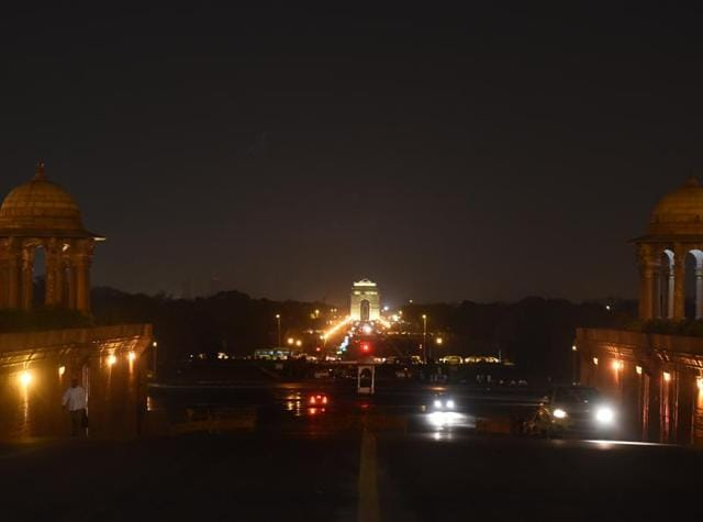 The illuminated India Gate Rajpath before the Global Earth Hour movement. Lights were turning off to mark the 10th annual Earth Hour.