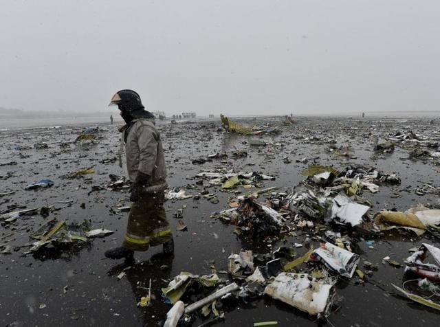 Emergencies Ministry members and investigators work at the crash site of the Boeing 737-800 Flight FZ981 operated by Dubai-based budget carrier FlyDubai, at the airport of Rostov-On-Don, Russia, in this handout image released by the Russian Emergencies Ministry on March 19, 2016.