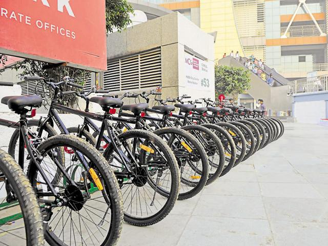 PWD minister Rao Narbir Singh inaugurated Public Bicycle Sharing at Huda City Centre Metro station in Gurgaon on March 8.