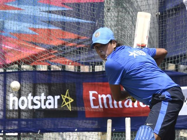 Indian women's cricket team member Jhulan Goswami during practice ahead of the World T20 match against Pakistan.
