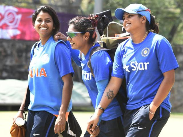 Indian women's cricket team members Mithali Raj (C), Rajeshwari Gayakwad (L) and Veda Krishnamurthy during practice ahead of their ICC World T20 match against Pakistan at Feroz Shah Kotla in New Delhi.