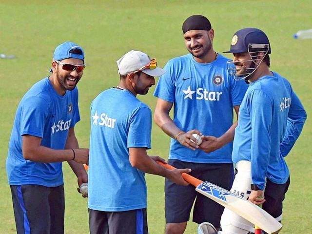 Indian cricketers during a practice session at the Eden Gardens in Kolkata on Friday.