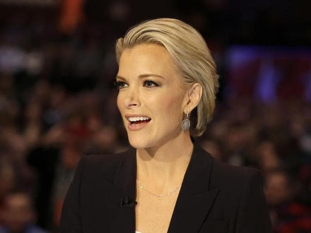 Moderator Megyn Kelly talks during a Republican presidential primary debate in Des Moines, Iowa.