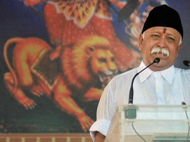 RSS chief Mohan Bhagwat (C) during the RSS function .