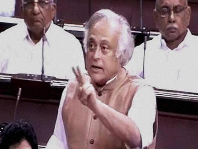 Congress MP Jairam Ramesh speaks in the Rajya Sabha in New Delhi on Friday.