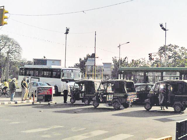Auto-rickshaws being used as a barricade at the Phase 7-8 light point during a protest by the Bhartiya Kisan Union in SAS Nagar on Friday.