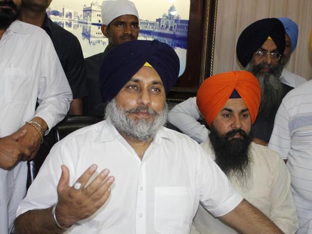 Punjab deputy chief minister Sukhbir Singh Badal interacting with media in Amritsar on Sunday.
