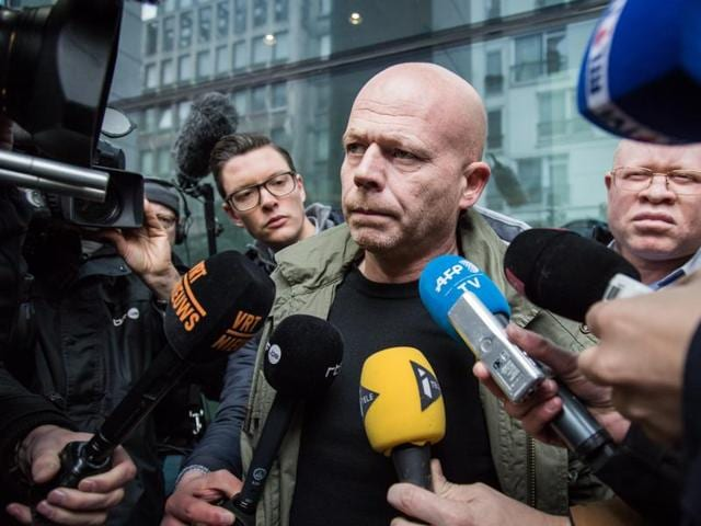 Sven Mary, Belgian lawyer of Paris attacks suspect Salah Abdeslam, talks to the media outside the building of the Federal Police in Brussels, on March 19, 2016.