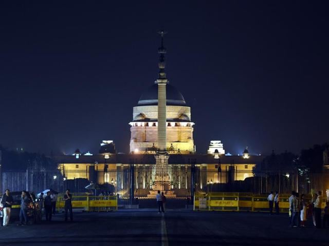 Lights were turning off at Rashtrapati Bhavan to mark the 10th annual Earth Hour, a global movement dedicated to protecting the planet and highlighting the effects of climate in New Delhi on Saturday