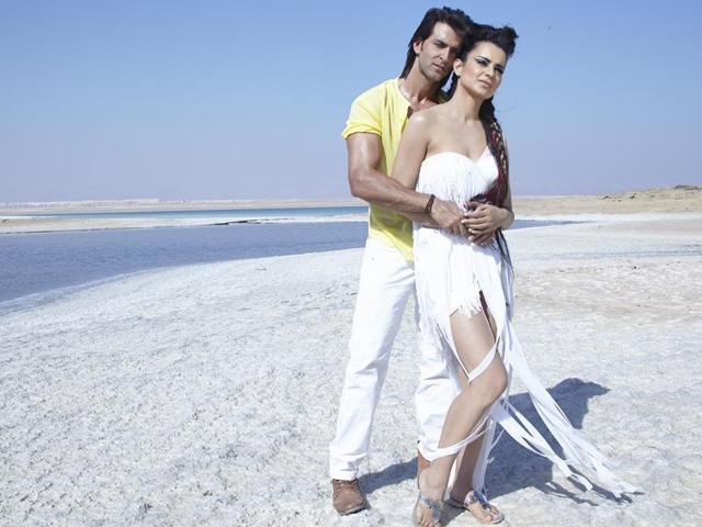 Kangana Ranaut and Hrithik Roshan, who fought bitterly recently, came close during the shoot of Krrish 3.(Rakesh Roshan)