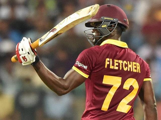 West Indies Andre Fletcher celebrates his fifty runs during the ICC World T20 match.