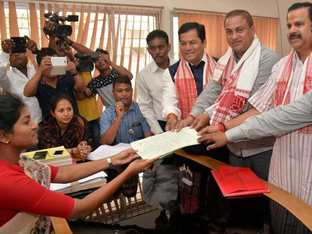 BJP candidate and MP Kamakhya Prasad Tasa files his nomination for upcoming Assam assembly polls, in Titabor.