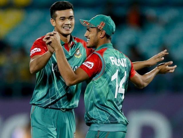 Bangladesh cricketer Taskin Ahmed reacts after the dismissal of Pakistan batsman Umar Akmal during the Asia Cup T20 match between Bangladesh and Pakistan.