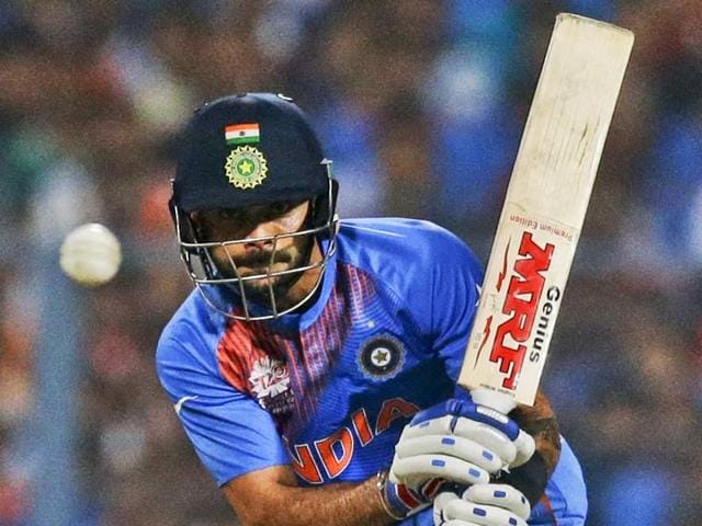 Virat Kohli bats during ICC World Twenty20 contest between India and Pakistan at Eden Gardens.