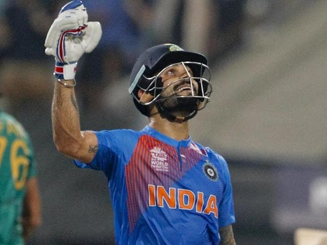 Indian player Virat Kohli after victory over Pakistan during ICC World Twenty20 match between India and Pakistan at Eden Gardens stadium in Kolkata, West Bengal, India, on Saturday, March 19, 2016.