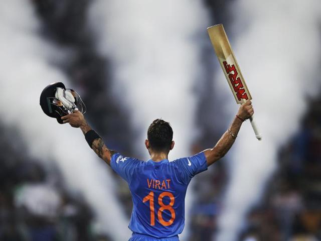 India's Virat Kohli celebrates his team victory during the ICC World Twenty20 2016 cricket match against Pakistan at Eden Gardens in Kolkata.