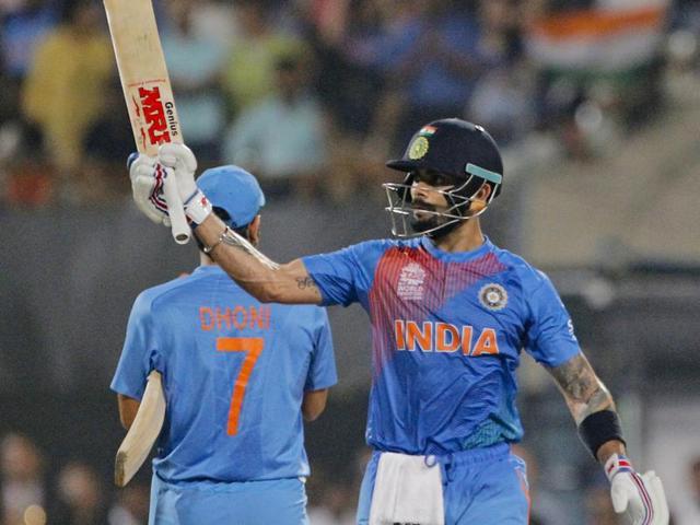 India's Virat Kohli bats during ICC World Twenty20 contest between India and Pakistan at Eden Gardens stadium in Kolkata on Saturday, March 19, 2016.