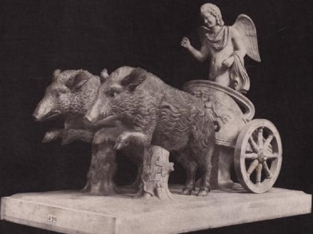 A sculpture depicting Odysseus' escape from Polyphemus's cave. It was acquired by Torlonia from the Albani collection.