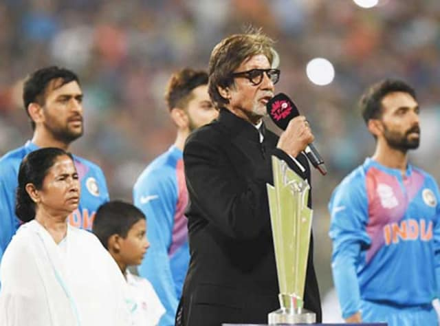 Amitabh Bachchan sang the national anthem at Eden Gardens in Kolkata before the India-Pak match.