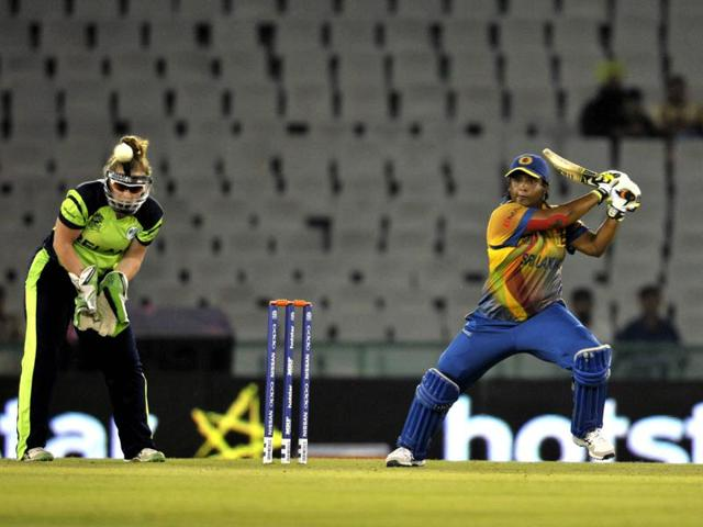 The Sri Lanka women held their nerve to register a 14-run win over Ireland, their first victory of the World T20.