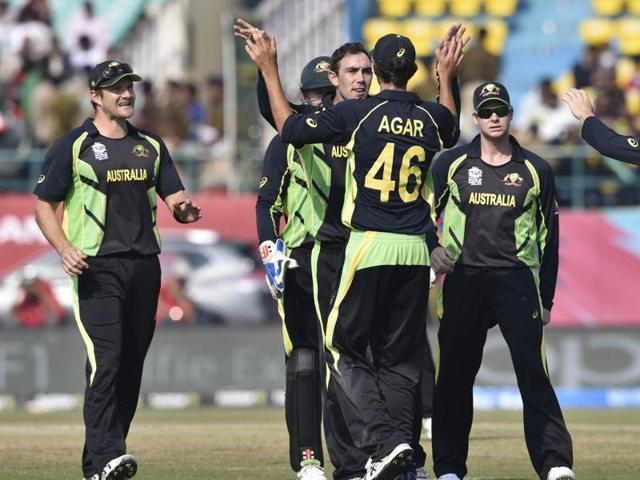 Australia will look to bounce back from their narrow loss to New Zealand to get their World T20 campaign back on track.(Gurpreet Singh/HT Photo)
