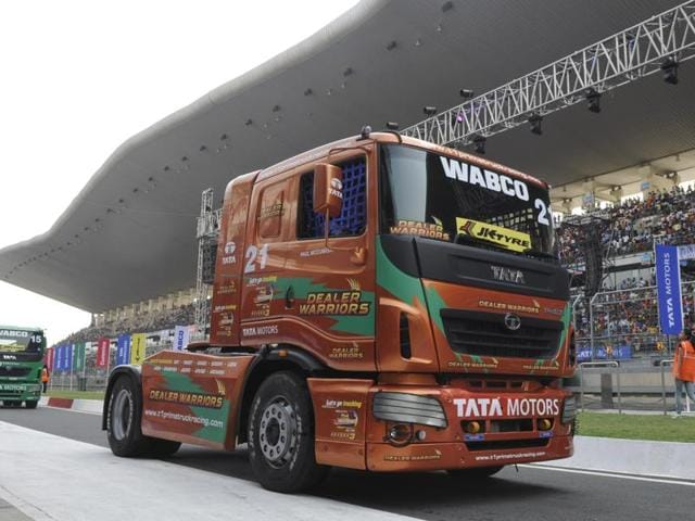 A sizeable crowd turned out to watch the action at the T1 Prima Truck racing at the BIC Circuit in Greater Noida on Sunday.