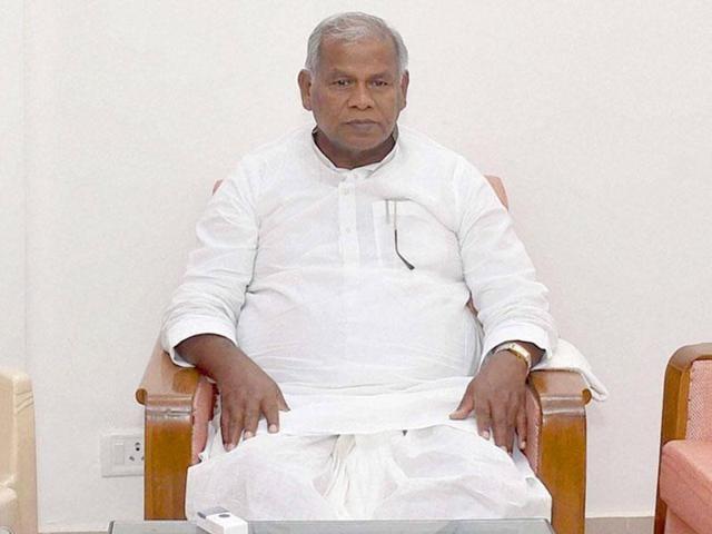 Former Bihar CM Jitan Ram Manjhi at Bihar Niwas in New Delhi on Sunday.