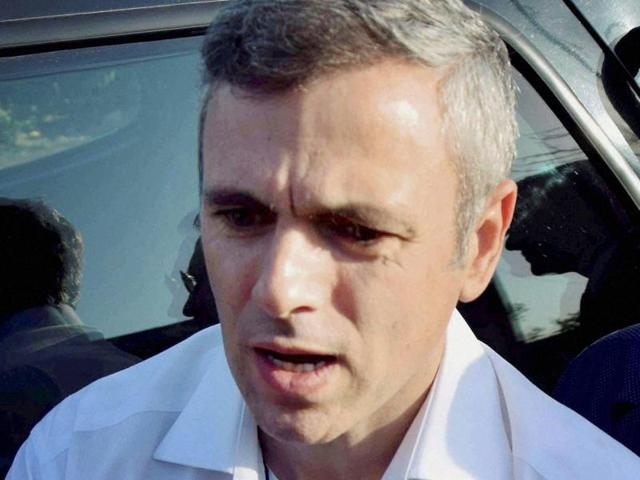J-K National Conference president, Omar Abdullah, addresses media outside Raj Bhawan in Jammu.