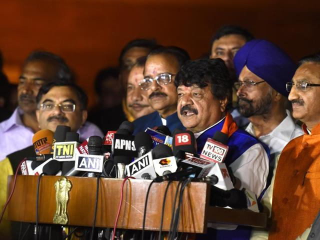 BJP leaders from Uttarakhand address the media after meeting the President in New Delhi on Monday.