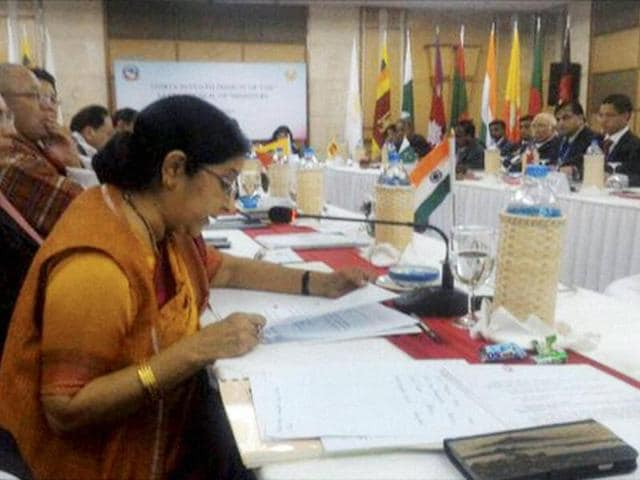 External affairs minister Sushma Swaraj addresses the 37th Saarc Council of Ministers meeting in Nepal's Pokhara.