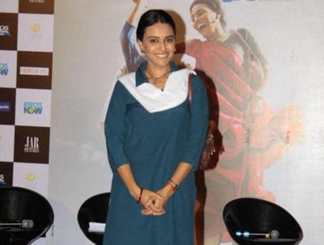 Swara Bhaskar at the trailer launch of Nil Battey Sannata. (Twitter)