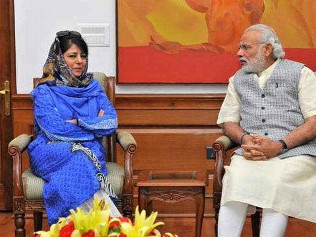 """PDP chief Mehbooba Mufti described her meeting with Prime Minister Narendra Modi as """"positive"""".(Press Information Bureau)"""
