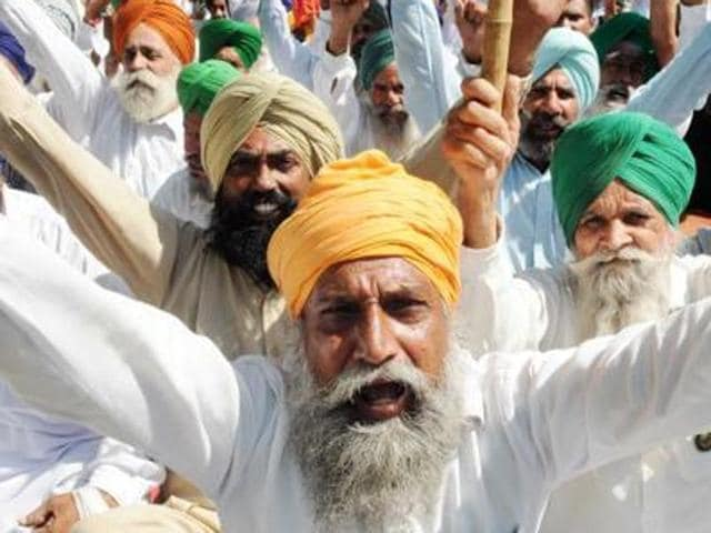 A farmers' protest in Sangrur.