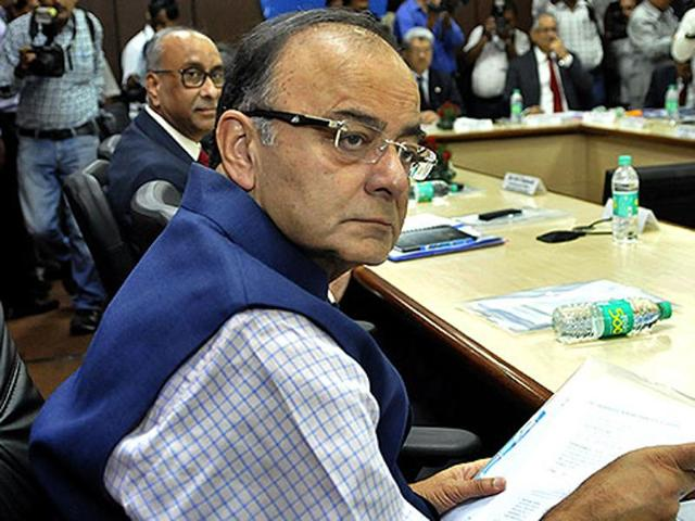 Union finance minister Arun Jaitley attends a meeting to review the annual performance of the Public Sector Banks (PSBs) and Financial Institutions (FIs) in New Delhi.