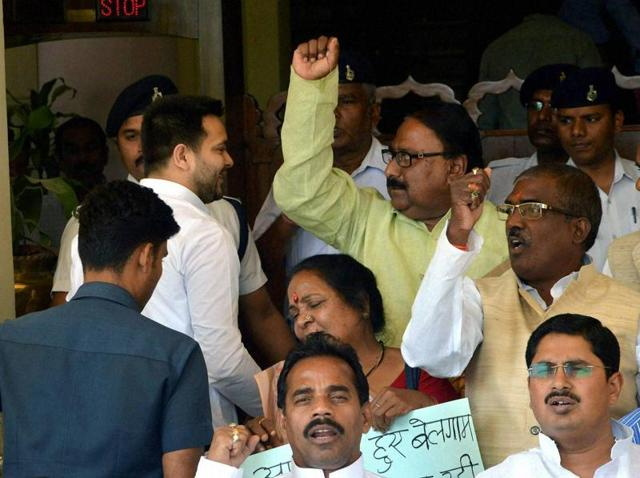 Opposition legislators demonstrated in front of the legislative assembly during the Bihar budget session in Patna.